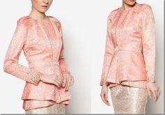 Baju Raya 2016 ~ Kebaya, Peplum, Kimono Style Blouse Ideas / pink-brocade-peplum-top