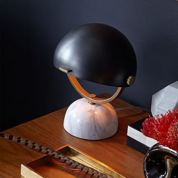 loving this little lamp for the bedside - Clint Mini Task Lamp - Marble / Black #westelm