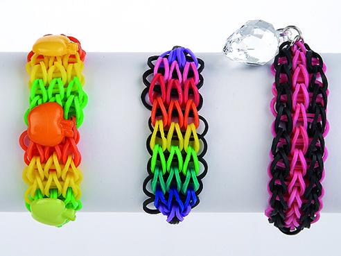 Como hacer pulseras de ligas fantasia de colores
