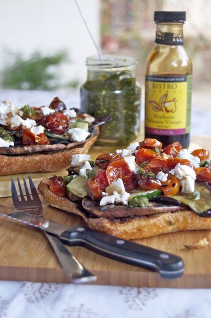 open faced chargrilled vegetable sandwich with balsamic vinegar and garlic pesto