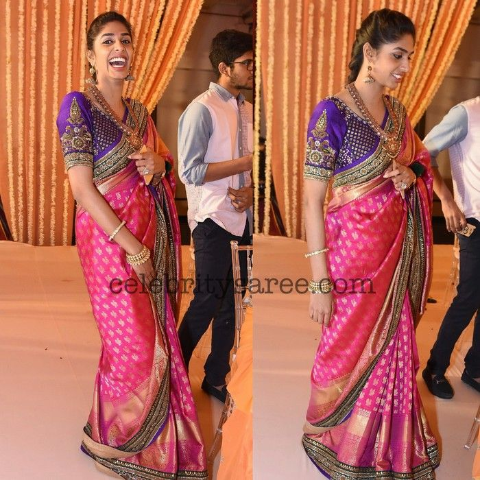 Pinky Reddy Daughter at Swathi Wedding - Saree Blouse Patterns