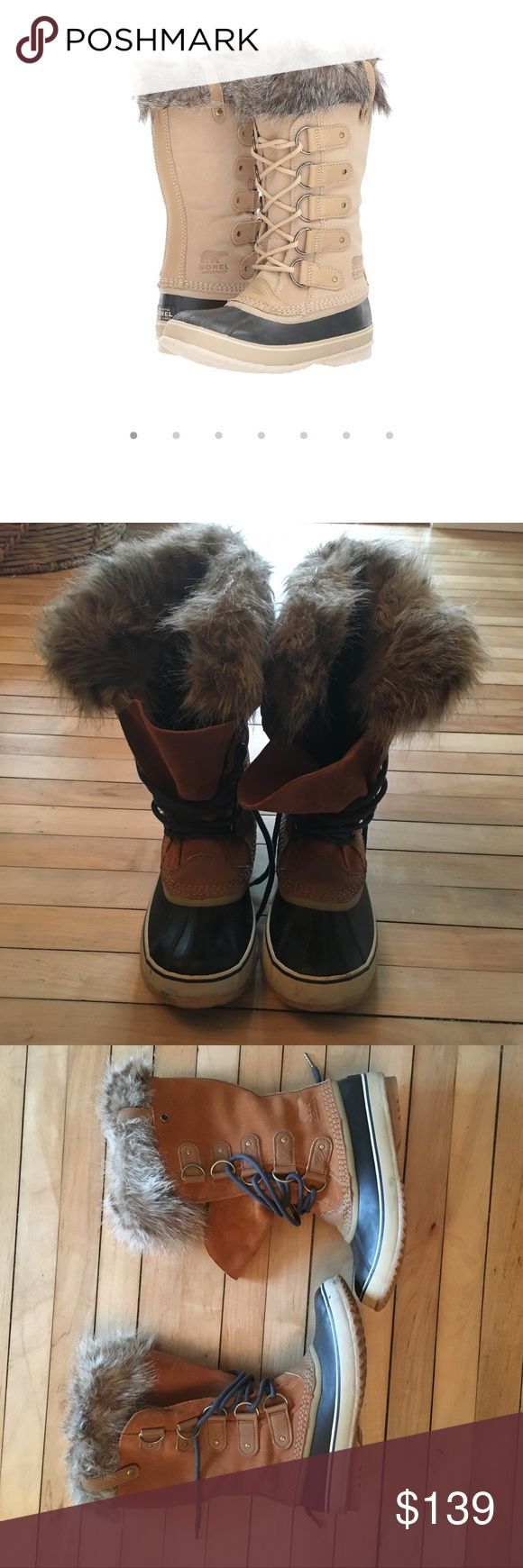 Sorel Joan of Arctic Snow Boots Worn only 3 times last season. Great heavy duty boots without sacrificing style. Item specs on last image straight from manufacturer. Minor scuffing on toe of one boot. Sorel Shoes Winter & Rain Boots