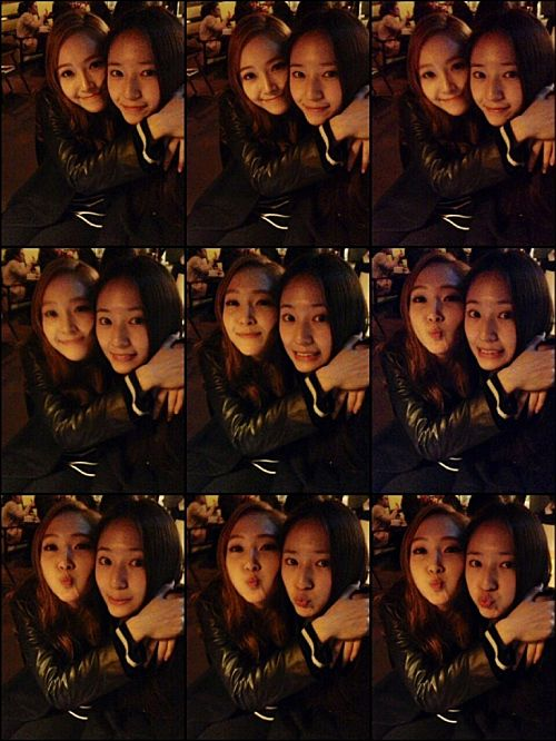 Jessica and Krystal show off their sisterly love