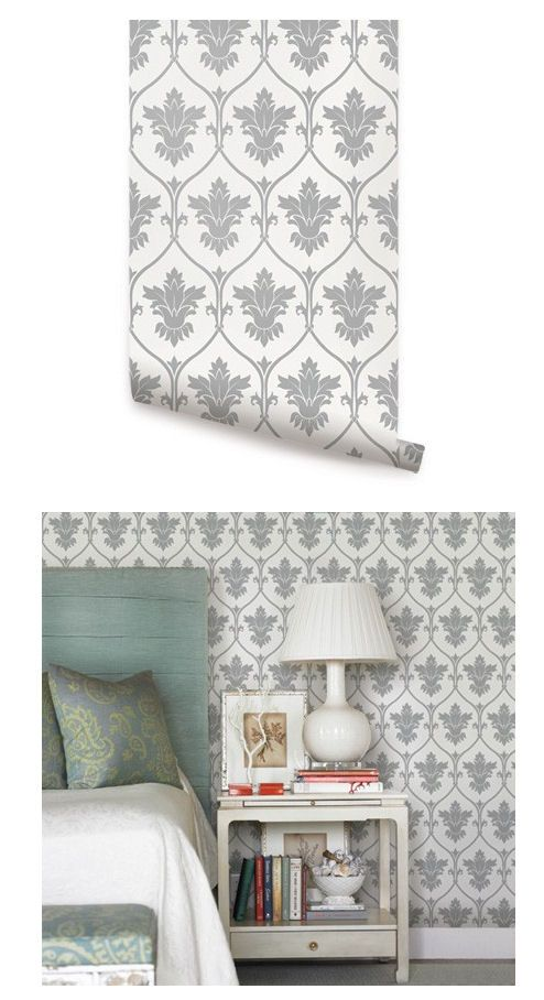 Gray Damask Peel And Stick Wallpaper   Wall Sticker Outlet
