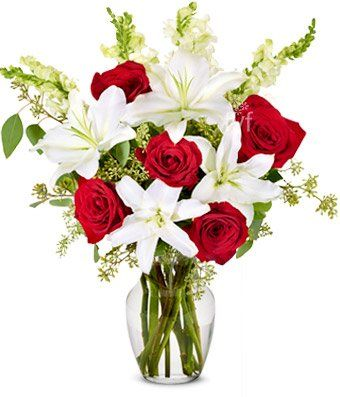 Red Rose and Lily Sympathy Arrangement $74.95