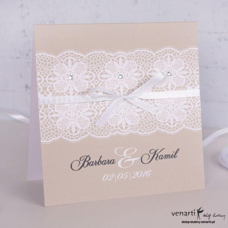 Zaproszenia ślubne rustykalne ze wstążką (Kod: K024) Zaproszenia papierowe…