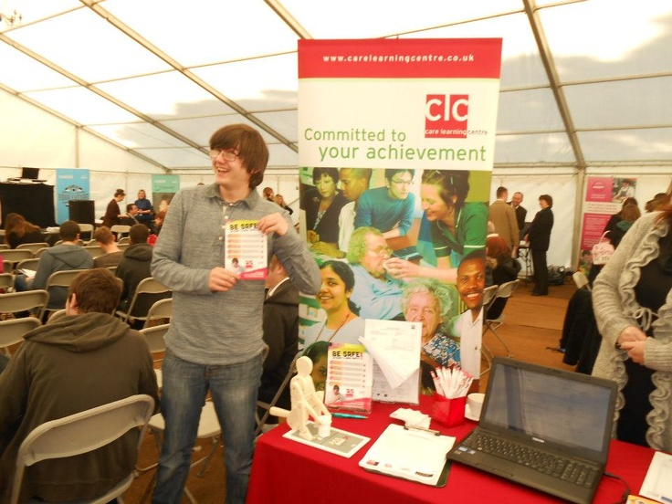 Customers help in promoting the 'Be Safe Be Smart' Leaflet during National Apprenticeship week 2013 for Care Learning Centre.