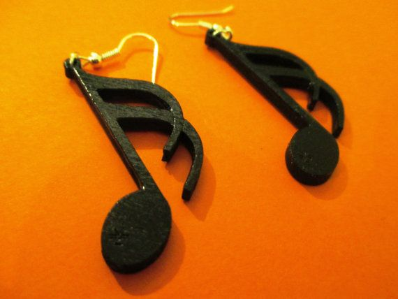 Originals wooden earrings shape of SEMIQUAVER by CreazioniDalCelo