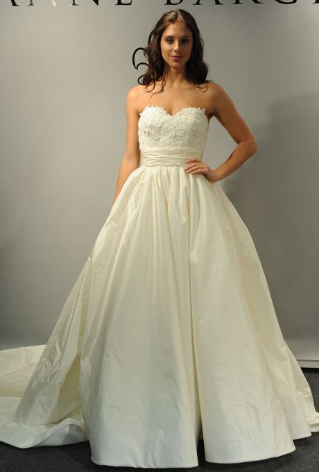 "Brides: Anne Barge - Spring 2013. ""Chatham"" strapless lace and taffeta ball gown wedding dress with a sweetheart neckline, Anne Barge"