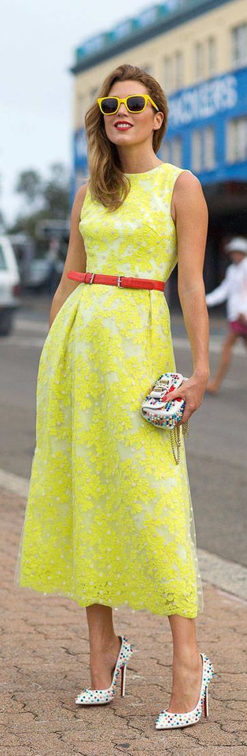 #street #style summer bright yellow dress @wachabuy