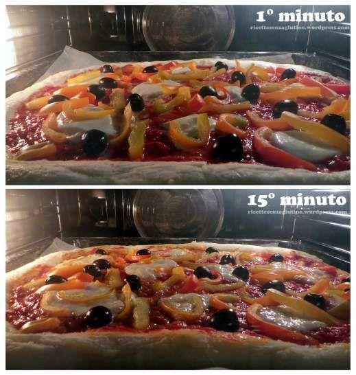 Cottura pizza senza glutine con peperoni e olive nere