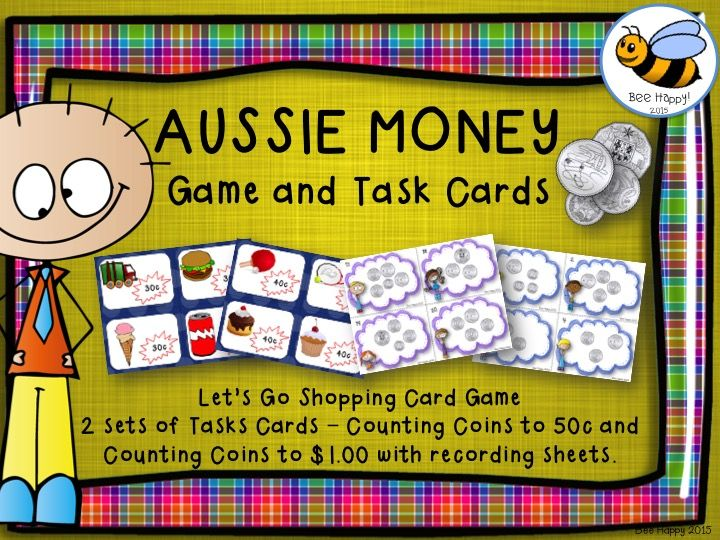 This Australian money pack has 32 pages of games and activities.  All you need for a bundle of fun while learning how to count groups of coins to $1.00!