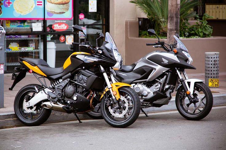 Bright blue instead of yellow. hell yes.  2012 Honda NC700X vs. Kawasaki Versys – Video Comparison