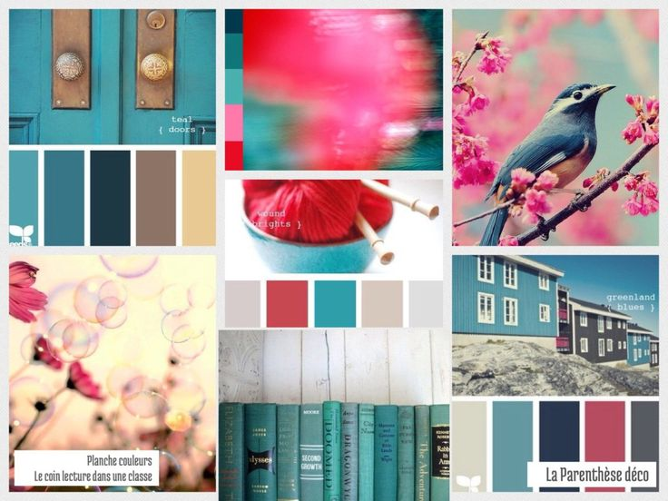 """Planche d'inspiration couleurs : """"un coin lecture pour une classe"""" sur le blog La Parenthèse déco laparenthesedeco.wordpress.com/"""