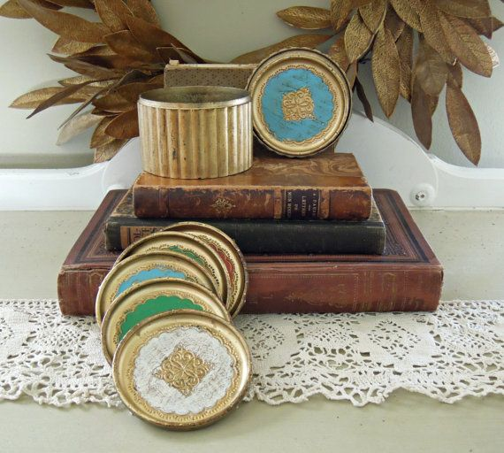 Vintage Italian Florentine Resin Coasters in by AloofNewfWhimsy, 44.00