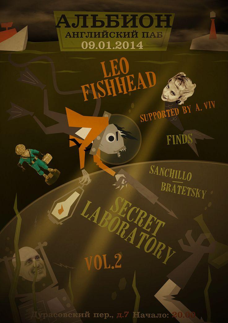 Leo Fishhead One Man Band gig poster.  Adventures of Leo Fishhead & Mr. Aqualangist . Albion Pub: Leo Fishhead One Man Band finds Sanchillo/Bratetsky & their Secret Laboratory Vol 2. Garage Blues Trash Psychobilly