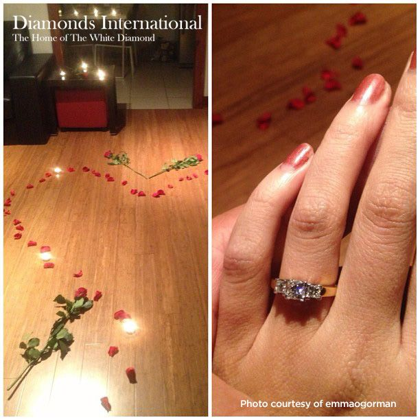 A Floral and Diamond Marriage Proposal for Emma. A marriage proposal is a significant and exciting event all on its own. But if your loved one throws in scoopfuls of romance, lashings of roses and dozens of candles you are in for one sweet treat. #diamonds #diamondsinternational #engaged #howheasked #marryme #engagement