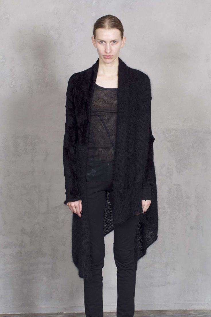 19AMA BLACK LONG CARDIGAN - ALESSANDRA MARCHI - Designers - Womens | Vertice London