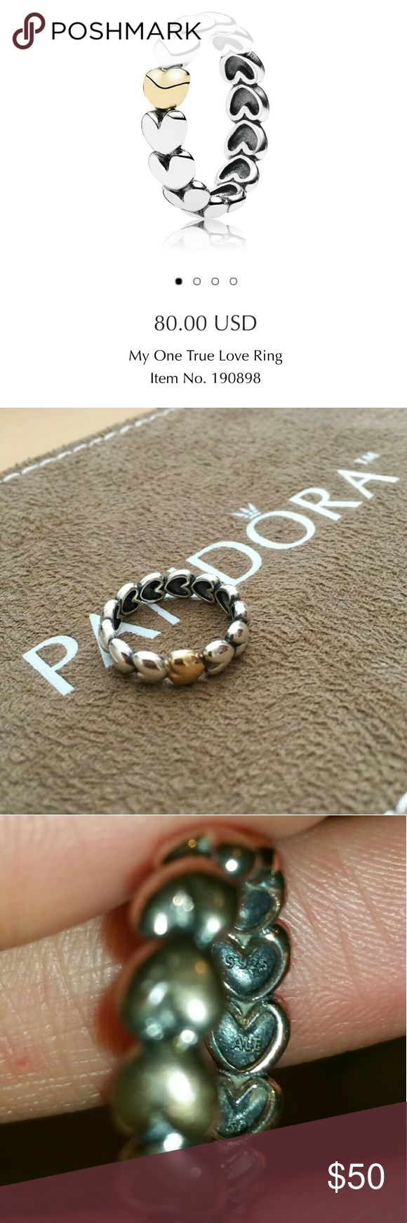 Pandora 14k My One True Love Ring Authentic Pandora  Two toned, sterling silver and 14k gold.  Very well loved. Ring does need cleaning! (Free at local Pandora)  Size 50.  Selling cheap due to it needing cleaning Pandora Jewelry Rings