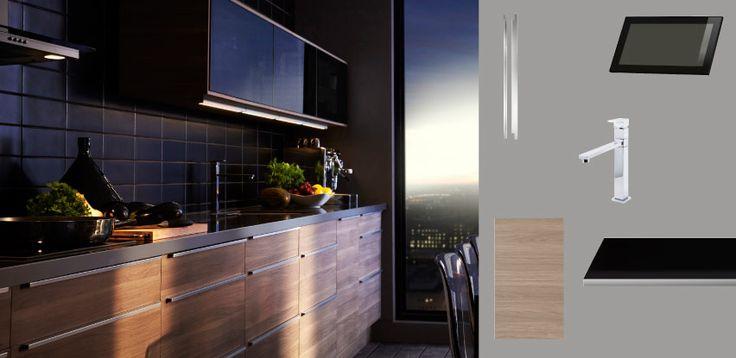 Faktum cuisine avec sofielund portes tiroirs motif noyer - Ikea cuisine faktum ...