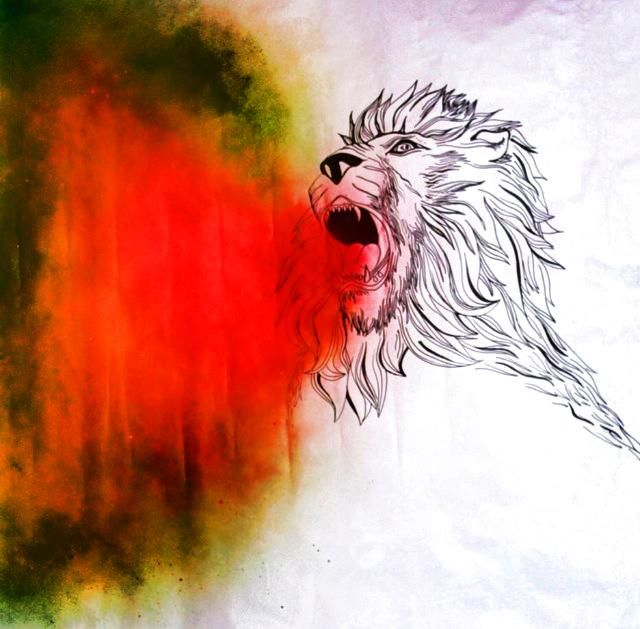 Lion drawing, marker pen and spray paint. This was designed as one of 5 murals for the Leeds Rag Fashion Show, 2014