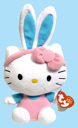 Hello Kitty (Easter, blue/turquoise bunny ears) - cat - Ty Beanie Babies