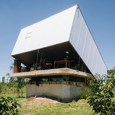 The roof of this house in Paraguay can be lifted open like the lid of a box.