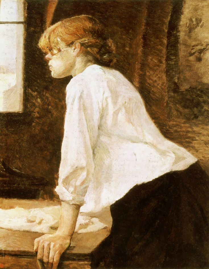 """La Blanchisseuse"" (1889), Henri de Toulouse-Lautrec ✏✏✏✏✏✏✏✏✏✏✏✏✏✏✏✏  ARTS ET PEINTURES - ARTS AND PAINTINGS  ☞ https://fr.pinterest.com/JeanfbJf/pin-peintres-painters-index/ ══════════════════════  Gᴀʙʏ﹣Fᴇ́ᴇʀɪᴇ ﹕☞ http://www.alittlemarket.com/boutique/gaby_feerie-132444.html ✏✏✏✏✏✏✏✏✏✏✏✏✏✏✏✏"