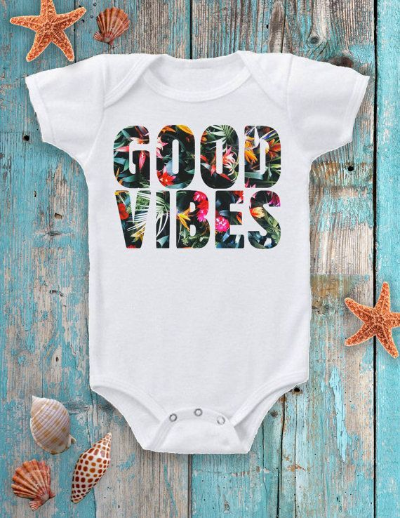 This GOOD VIBES design with the tropical background is the perfect summer outfit for your little baby. Shop the outfit here: https://www.etsy.com/listing/274931424/baby-clothes-baby-summer-outfit-baby?ref=listing-shop-header-2 Women, Men and Kids Outfit Ideas on our website at 7ootd.com #ootd #7ootd