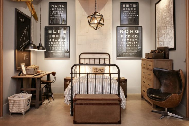 Like this restoration hardware scheme for teenage boys bedroom..wood desk..pendant lighting..chalkboard in large wood frame..maps maybe of favorite places on the walls!