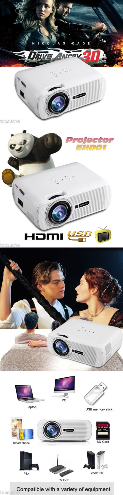 Home Theater Projectors: Hd 1080P Mini Led 3D Projector 1000 Lumens Lcd Multimedia Home Theater Hdmi Usb BUY IT NOW ONLY: $79.99