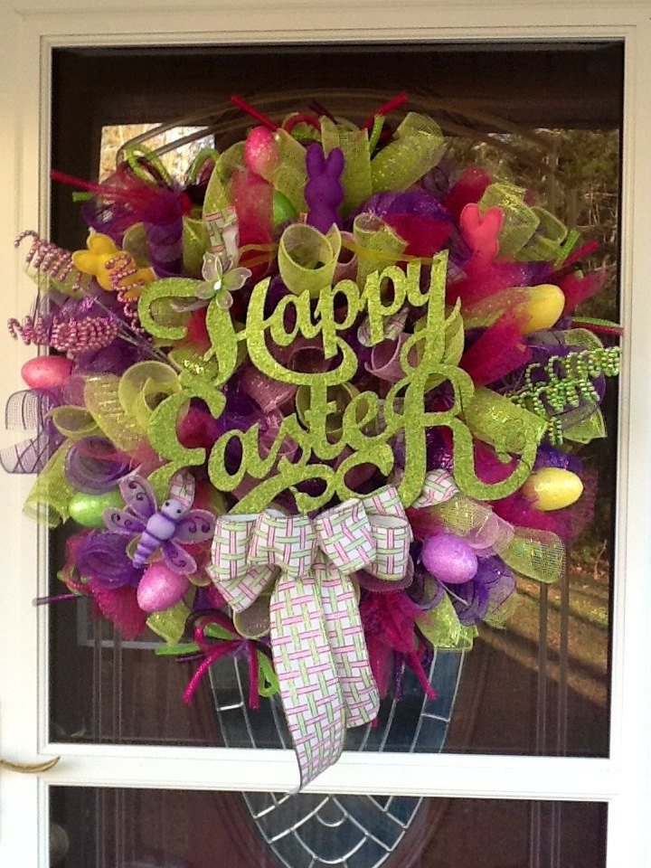 Easter Deco Mesh Wreath by WreathsEtc on Etsy