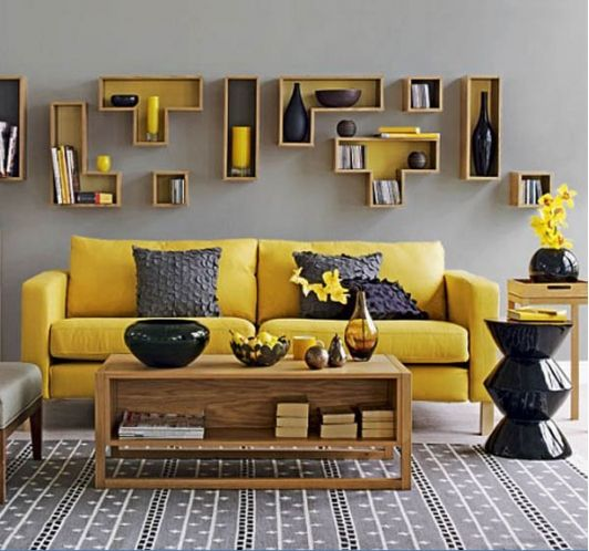Beautiful Grey Living Room With Yellow Couch And Tetris Style Shelving