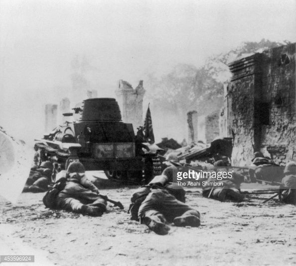 Japan Imperial Army soldiers at Zamboanga after the fall of Bataan Peninsula during the Pacific War as a part of World War II in April 1942 in...