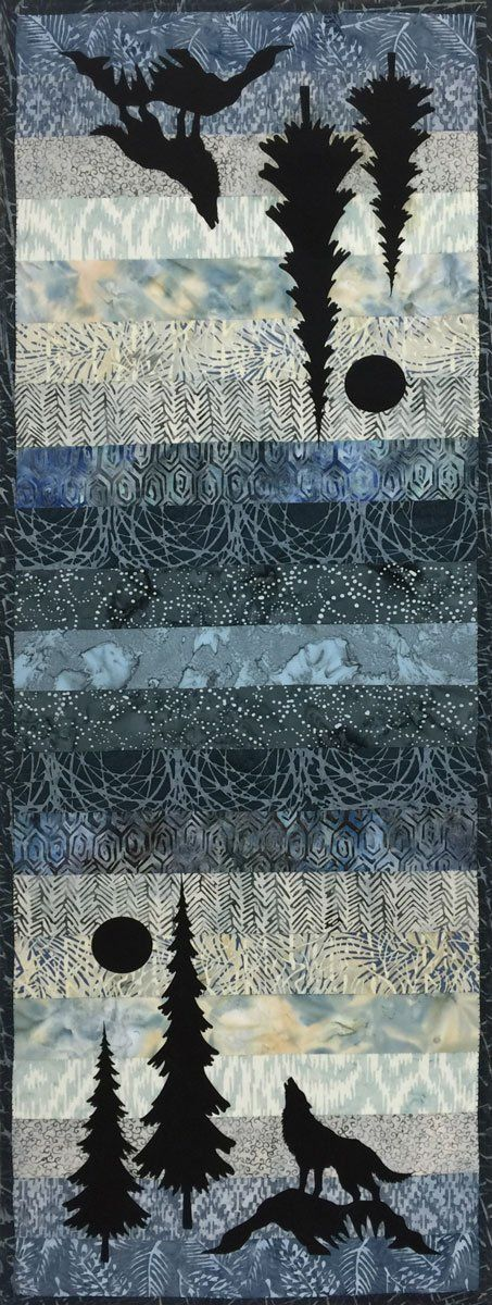 Mini Wolf & Trees Table Runner Kit. Very easy to make. Kit includes pre-fused, laser cut appliques.