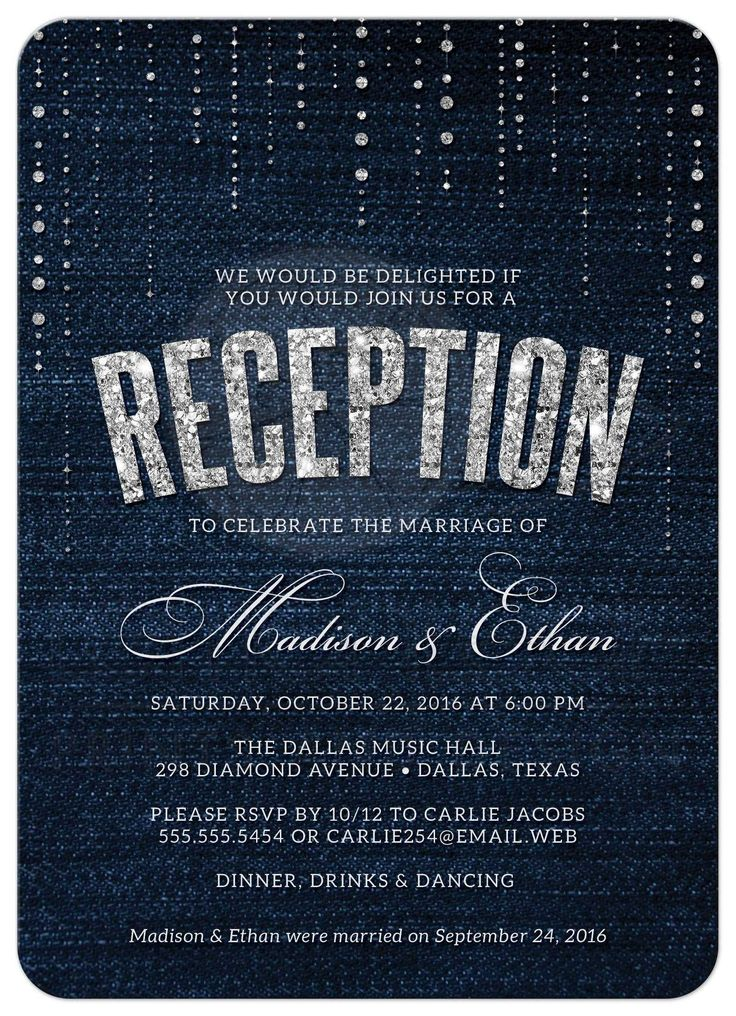 casual evening wedding invitation wording%0A Denim  u     Diamonds Post Wedding Reception Invitations front More