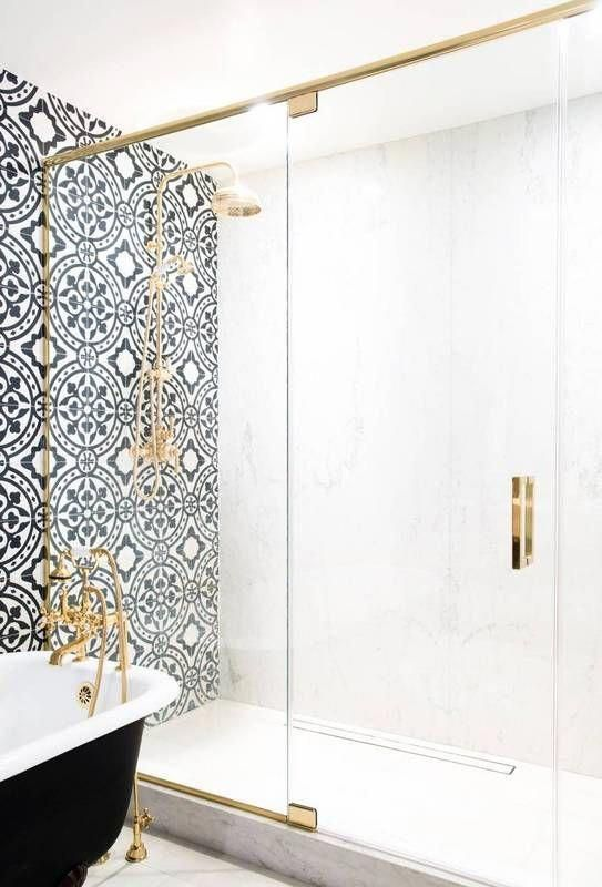 remodeling bathroom ideas Black and White Bathroom with gold tri