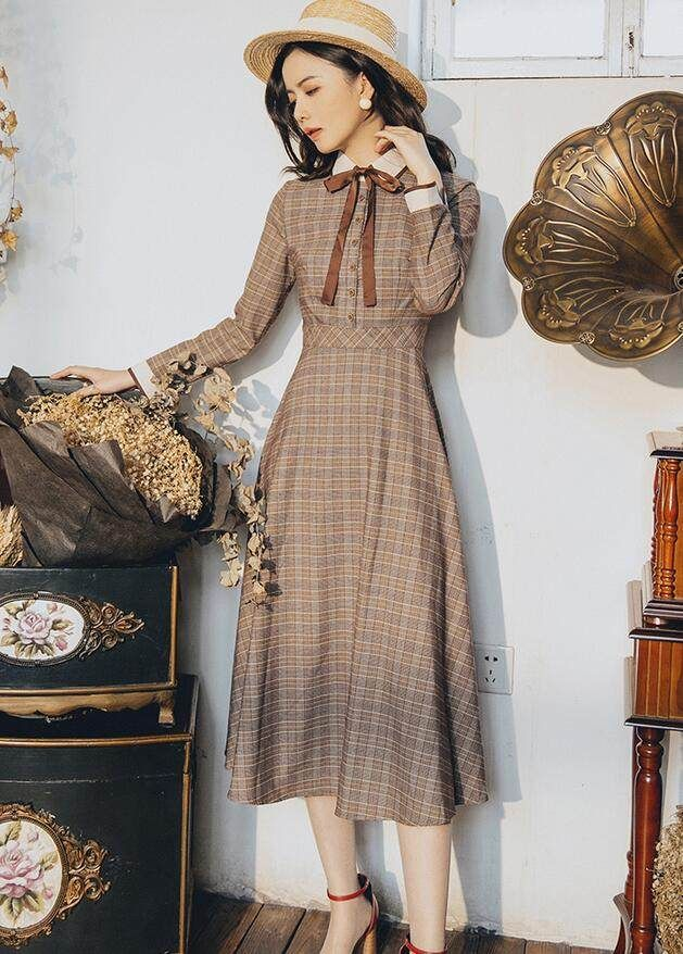 Online Shop 2017 Autumn Winter Women Dress Vintage Retro Peter Pan Collar Elegant Long Sleeve In 2020 Vintage Outfits Classy Modern Vintage Fashion Vintage Long Dress