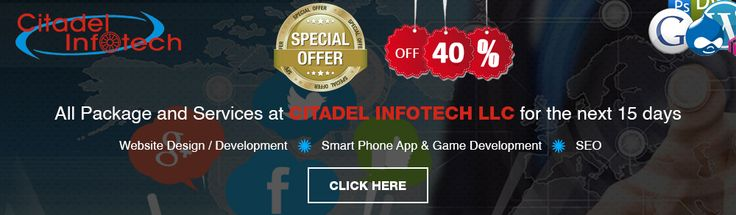 All Package and Services at CITADEL INFOTECH LLC for the next 15 days http://www.citadelinfotech.com/special-offer-sep-2015/
