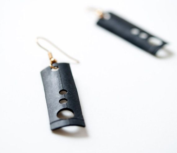 Geometric Square and Circle Recycled Bike Tire 14K by pearlreef, $15.00