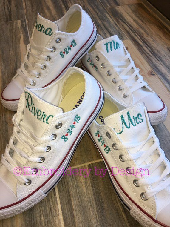 Bride Shoes Groom Shoes Wedding Embroidered Converse Sneakers