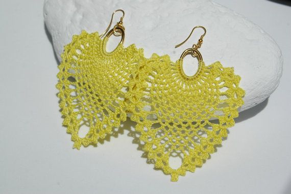 Crochet earrings  Large crochet earrings  Crochete by lindapaula, €11.00