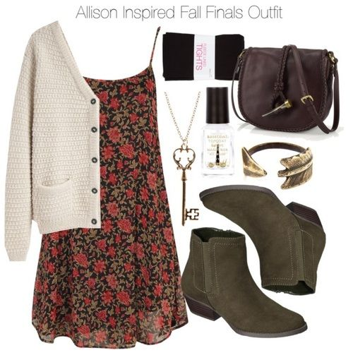 Boohoo dress / La Garçonne Moderne hand knit cardigan / Fleece lined tight / Zipper ankle boots / Lauren Ralph Lauren leather purse / Warehouse filigree pendant, $8.07 / River Island nail polish, $4.84