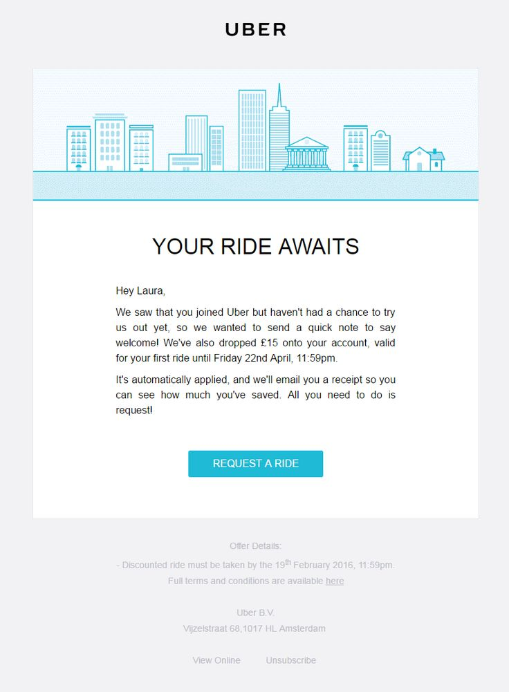 Abandonment Email from Uber for people who have signed up to their service, but not yet used it. Includes free gift to encourage potential customers. #EmailMarketing #Email #Marketing #Browse #Account #Website #Abandonment #Abandon #Transport #Services #Travel
