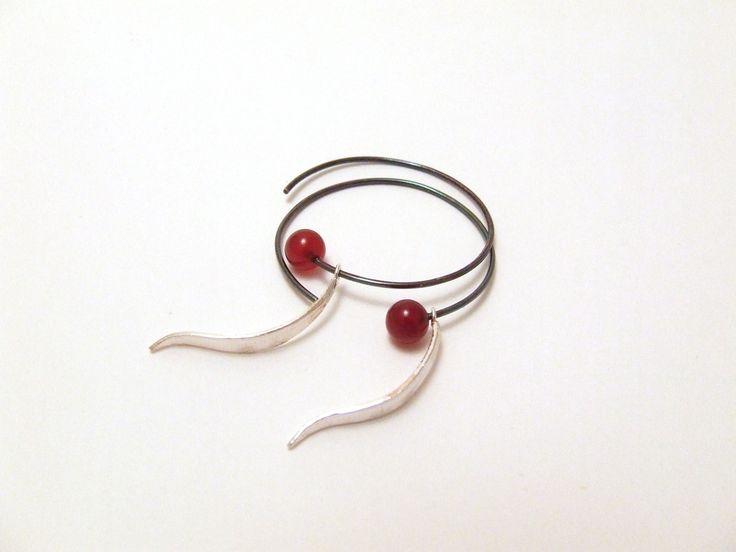 Earrings silver and cornelian by Rikke Borch
