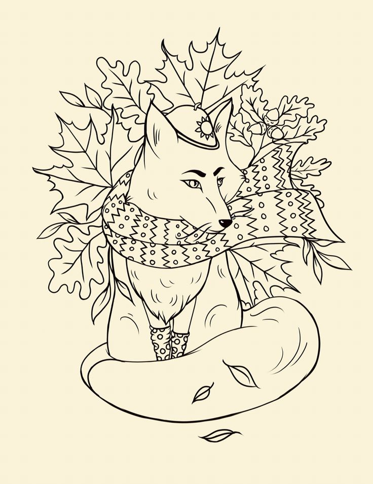Autumn fox лиса осень компьютерная графика