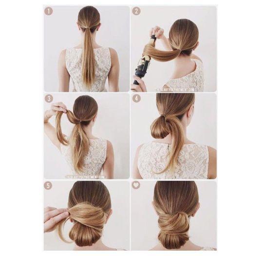 Un chongo para las de pelo lacio.   16 Peinados que parecen profesionales pero te tomarán menos de diez minutos