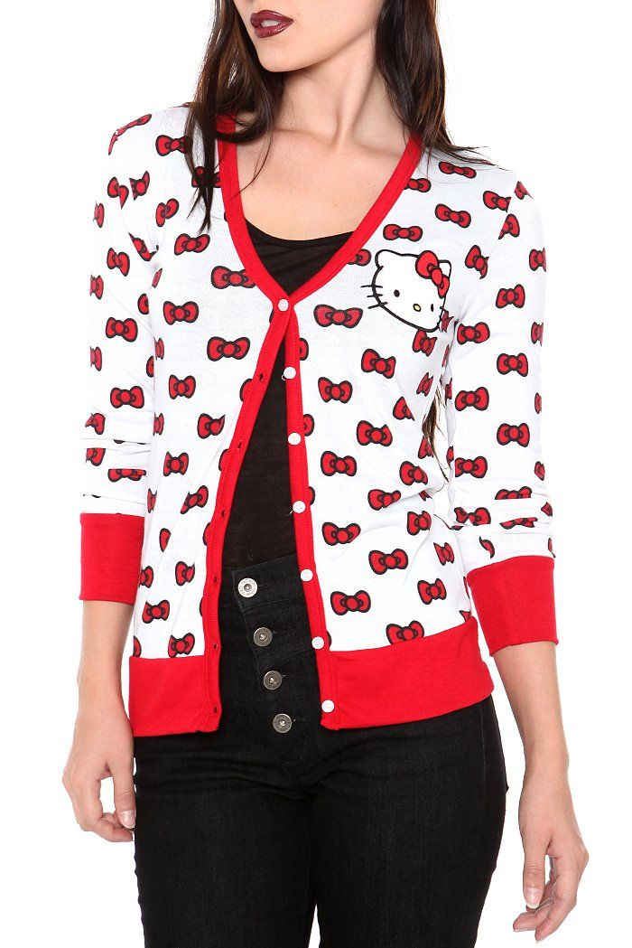 HELLO KITTY WHITE ALLOVER BOW CARDIGAN