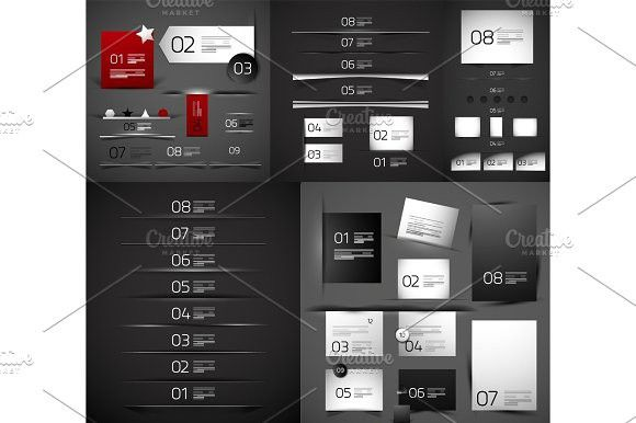Mega collection of vector blank paper web boxes and dividers. Best Objects