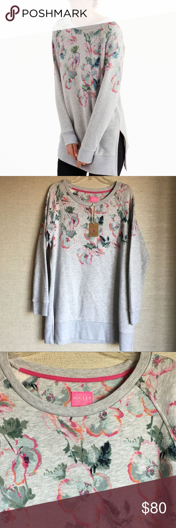 Joules 'Lauralie' Printed Sweatshirt With raglan sleeves and a carefully considered placement print this longline sweatshirt is a cut above. Deep hems add to the appeal. New with tag. Joules Tops Sweatshirts & Hoodies